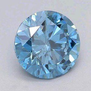 1.02 Carat Round Cut Intense Blue CVD Loose Diamon